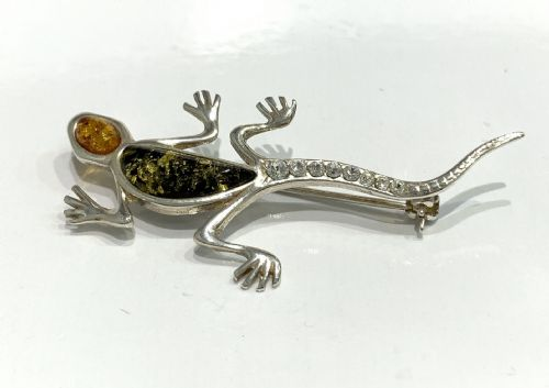 Sterling Silver | Gecko Multi Coloured | Amber Brooch